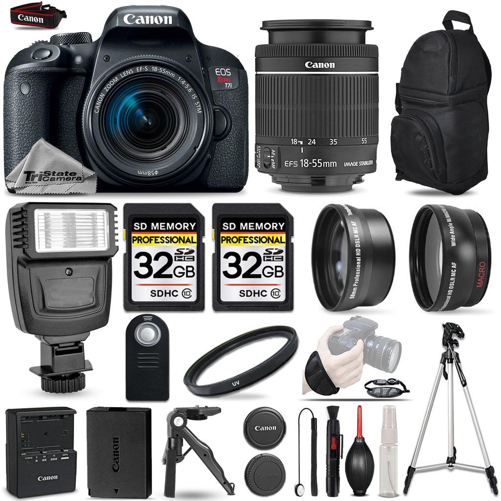 EOS Rebel T7i SLR Camera 800D + 18-55mm IS-3 Lens Kit + Flash+ 64GB + More *FREE SHIPPING*