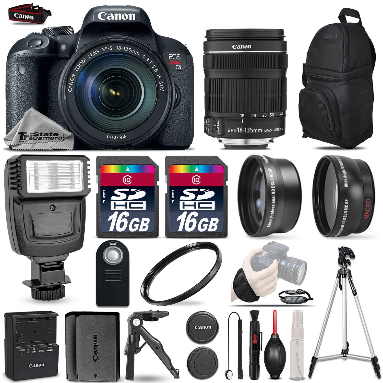 EOS Rebel T7i DSLR Camera 1894C003 + 18-135mm + Flash + 32GB - 3 Lens Kit *FREE SHIPPING*