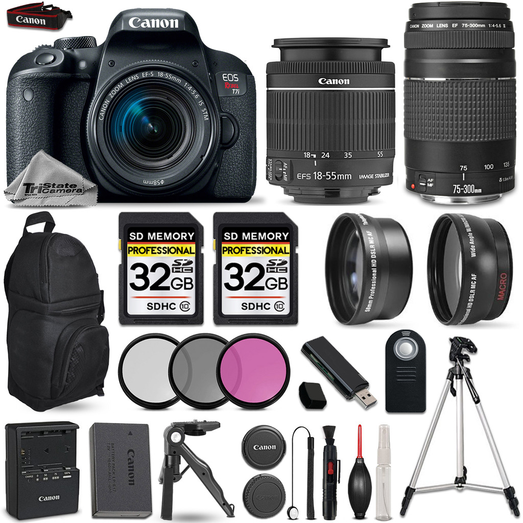 EOS Rebel T7i Camera + 18-55mm STM + 75-300mm + 3PC Filter Kit - 64GB Kit *FREE SHIPPING*