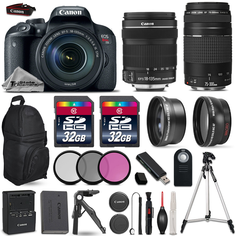 EOS Rebel T7i DSLR Camera + 18-135mm + 75-300mm + 3PC Filter - 64GB Kit *FREE SHIPPING*