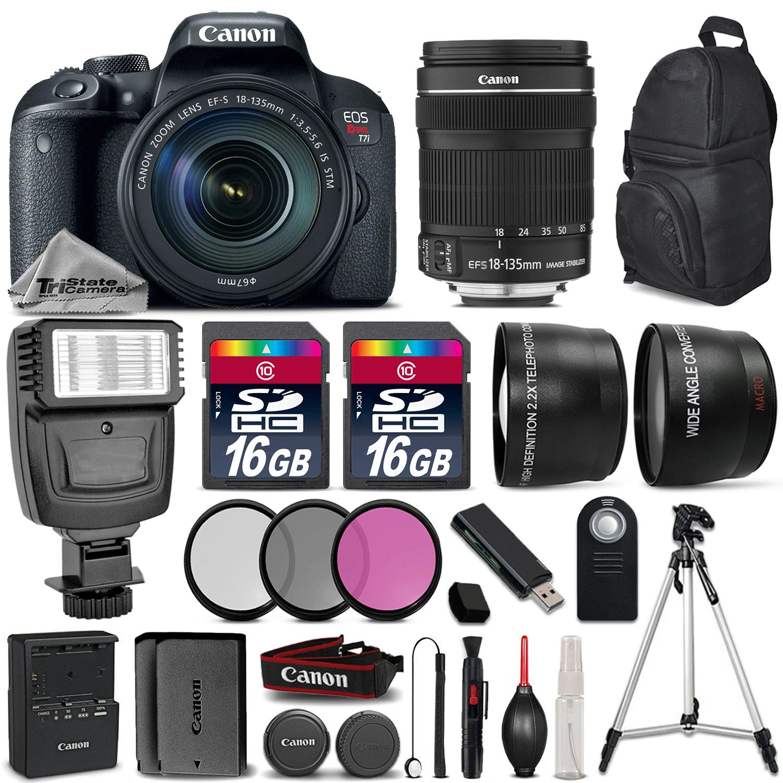EOS Rebel T7i DSLR Camera + 18-135mm STM + Flash + EXT BATT - 32GB Kit *FREE SHIPPING*