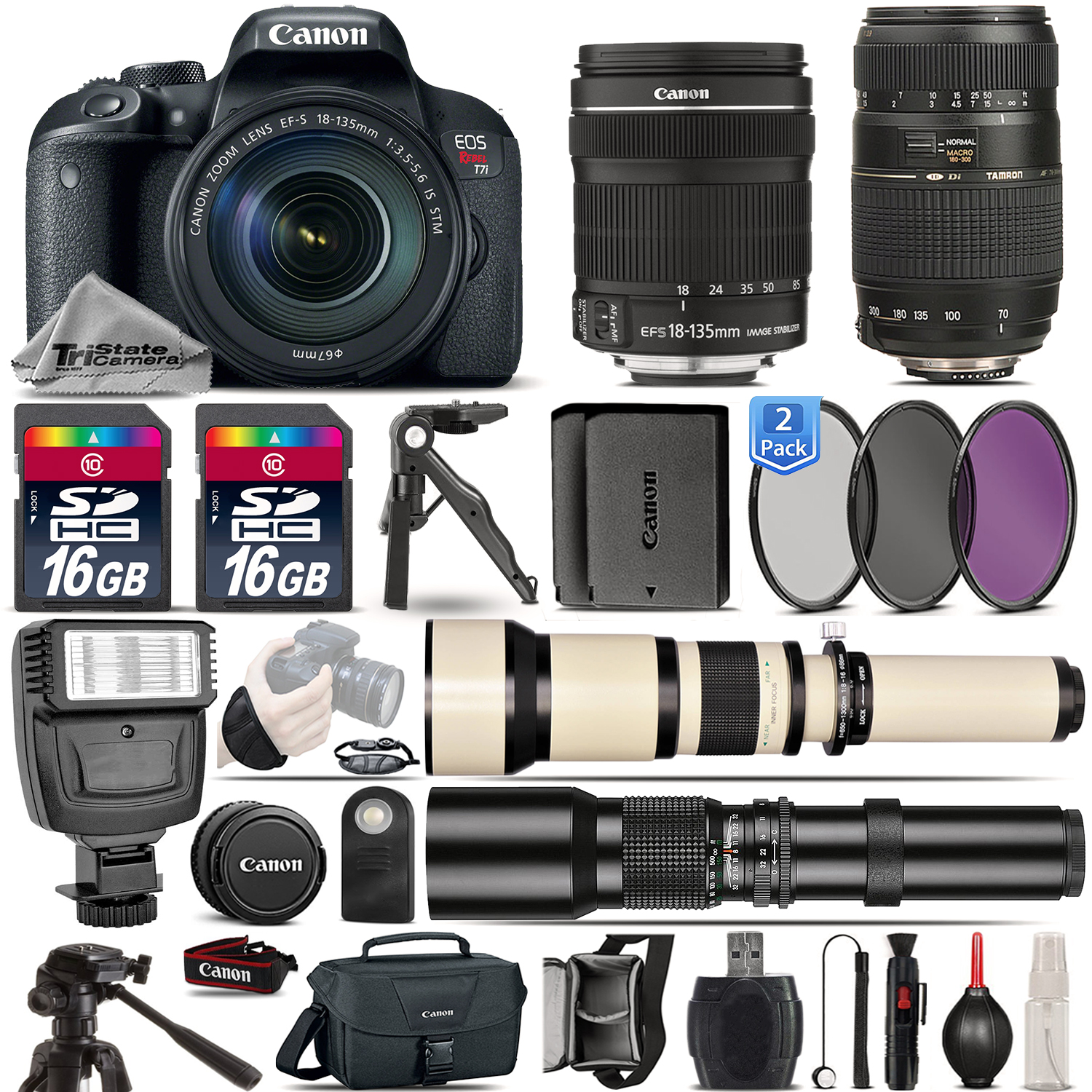 EOS Rebel T7i Camera + 18-135mm STM + 70-300mm + Extra Battery - 32GB Kit *FREE SHIPPING*