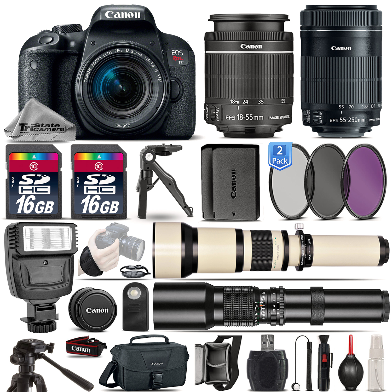 EOS Rebel T7i Camera 800D + 18-55mm + 55-250mm STM + EXT BATT - 32GB Kit *FREE SHIPPING*