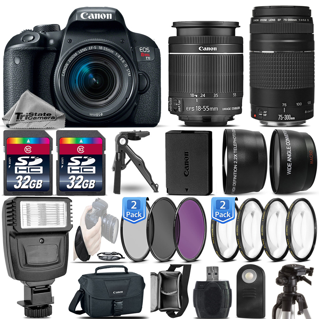 EOS Rebel T7i / 800D DSLR Camera + 18-55mm IS STM + 75-300 III -64GB Kit *FREE SHIPPING*