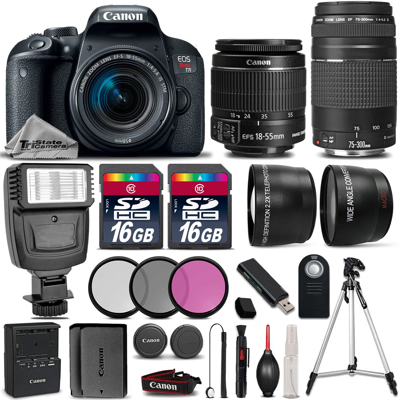 EOS Rebel T7i 800D Camera + 18-55mm + 75-300mm + 32GB + Flash + EXT BATT *FREE SHIPPING*