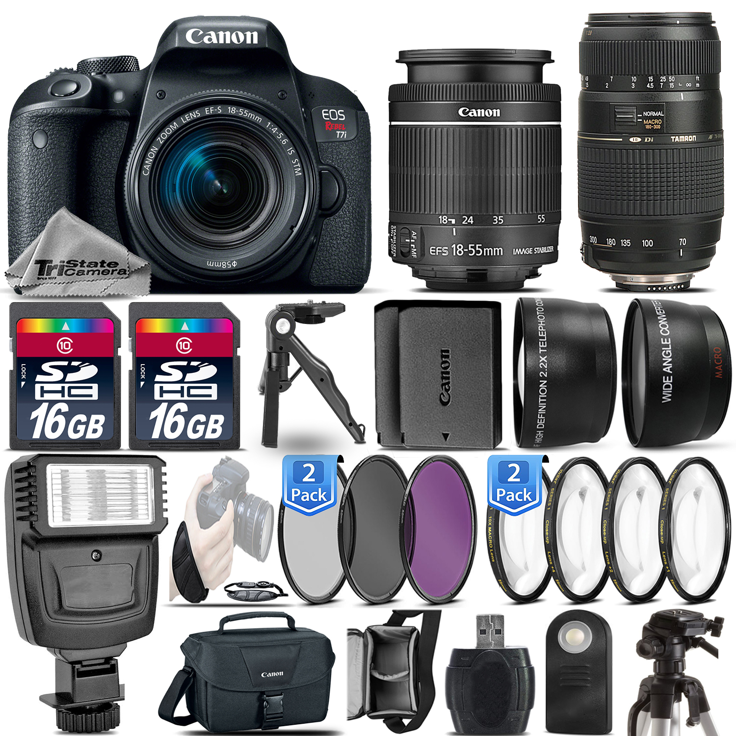 EOS Rebel T7i DSLR Camera + 18-55mm STM + 70-300mm + EXT BATT - 32GB Kit *FREE SHIPPING*