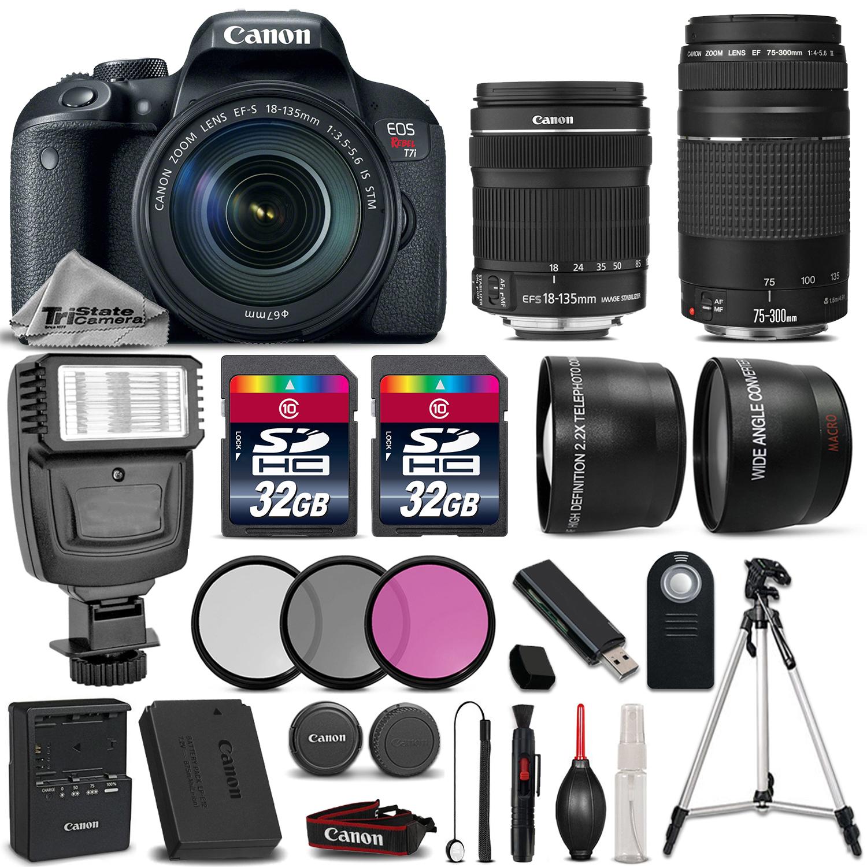 EOS Rebel T7i DSLR Camera + 18-135mm STM + 75-300mm III + 64GB + Flash *FREE SHIPPING*