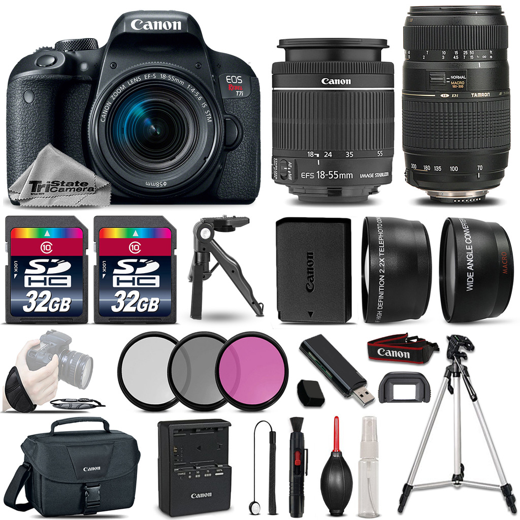 EOS Rebel T7i 800D 24.2MP DSLR Camera w/ 18-55mm and 70-300mm Lens Bundle *FREE SHIPPING*