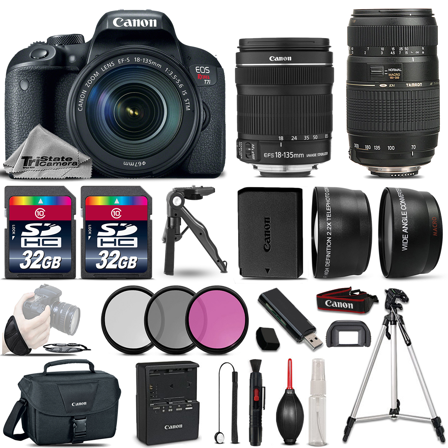 EOS Rebel T7i DSLR Camera w/ 18-135mm IS STM & 70-300mm Lens Bundle *FREE SHIPPING*