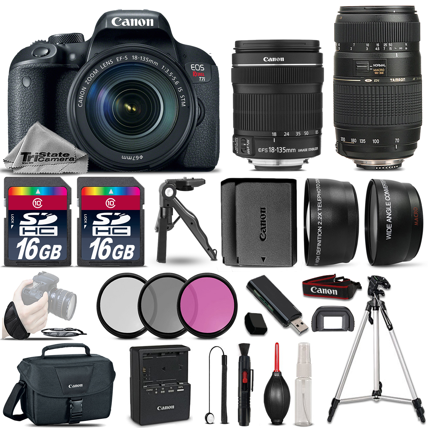 EOS Rebel T7i DSLR Camera w/ 18-135mm STM and 70-300mm + Extra Battery *FREE SHIPPING*