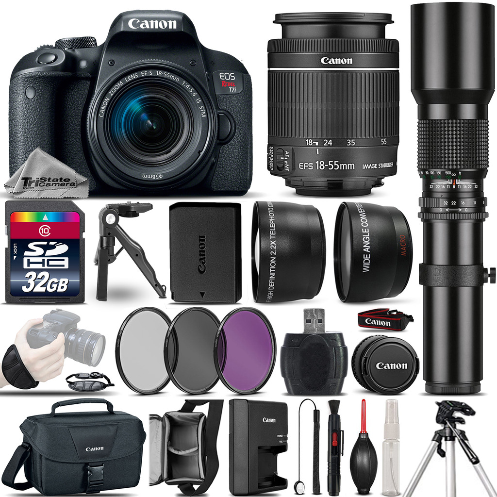 EOS Rebel T7i DSLR Camera 800D + 18-55mm IS + 500mm 4 Lens Kit - 32GB Kit *FREE SHIPPING*