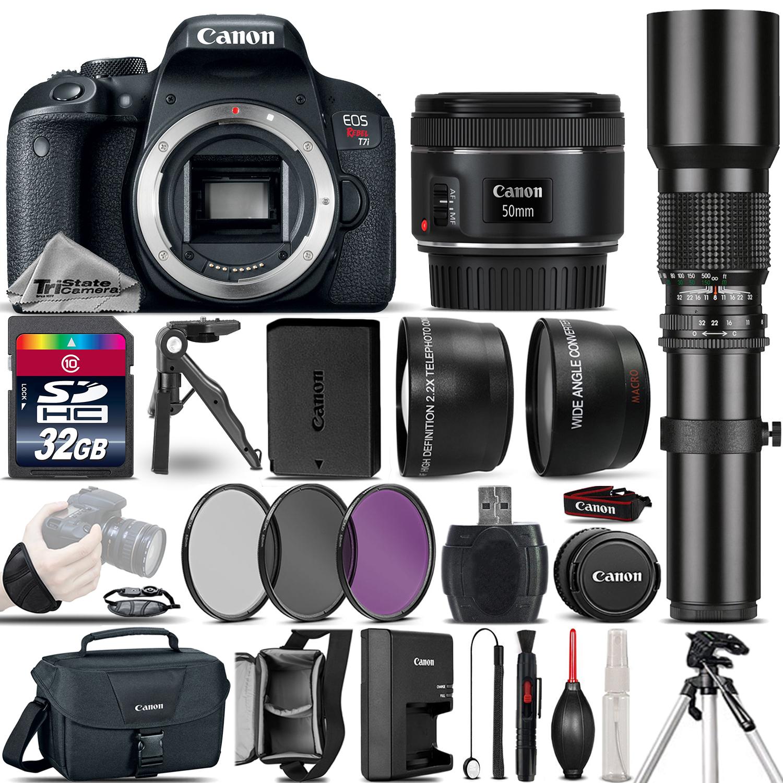 EOS Rebel T7i DSLR Camera 800D + 50mm 1.8  + 500mm 4 Lens Kit - 32GB Kit *FREE SHIPPING*