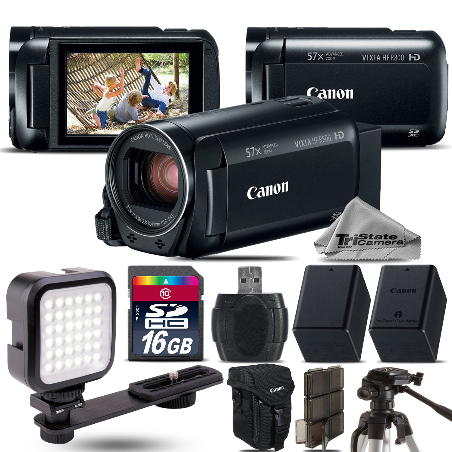 VIXIA HF R 800 57x Zoom 3.28MP Camcorder + LED + EXT BATT - 16GB Bundle *FREE SHIPPING*