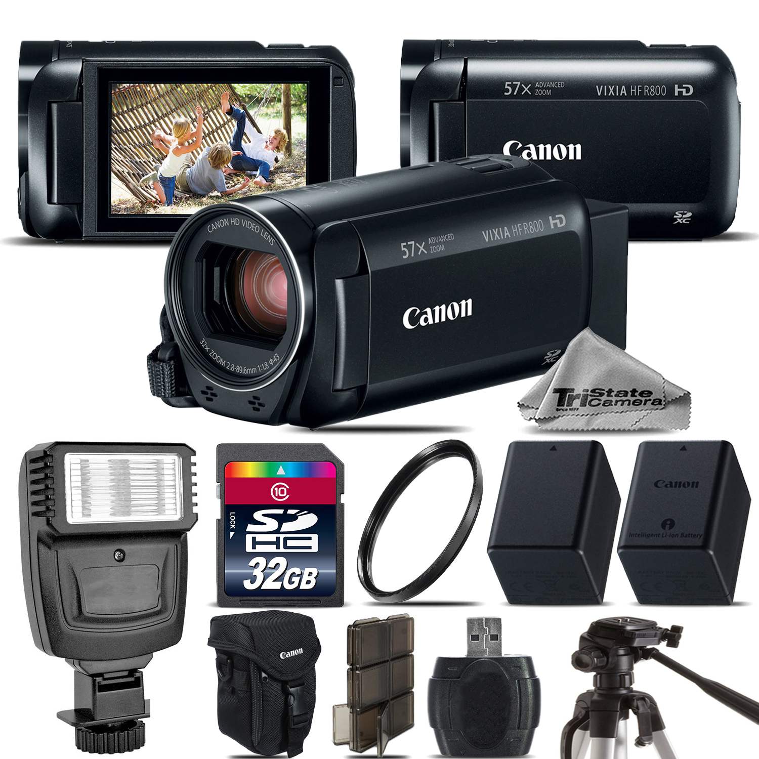 VIXIA HF R 800 57x Zoom 3.28MP HD Camcorder + Flash + EXT BATT - 32GB Kit *FREE SHIPPING*