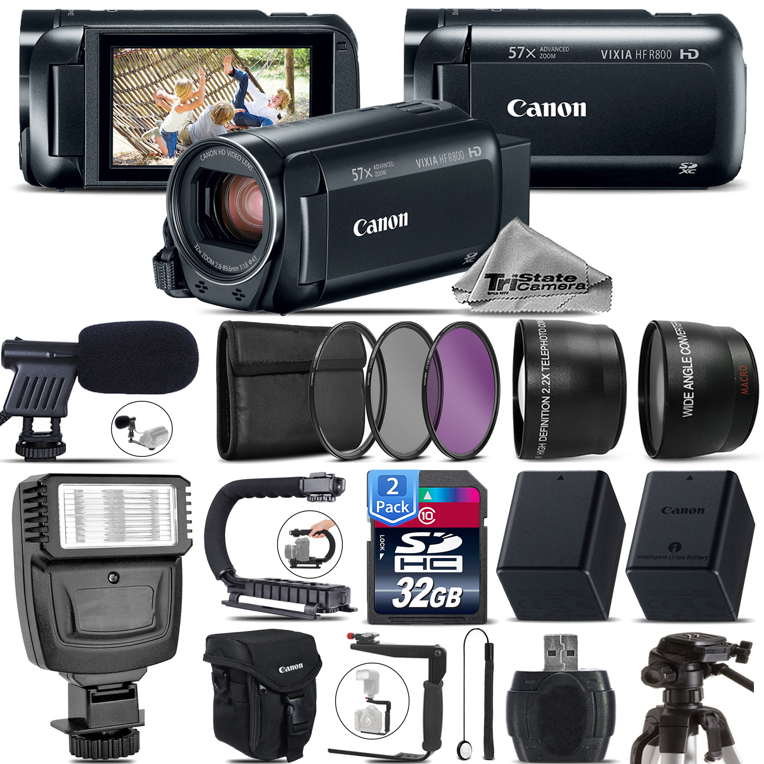 Canon Vixia Hf R 800 Hfr 800 Camcorder Black Mic Filter Kit Flash 64gb Free Shipping Tri State Camera Video And Computer