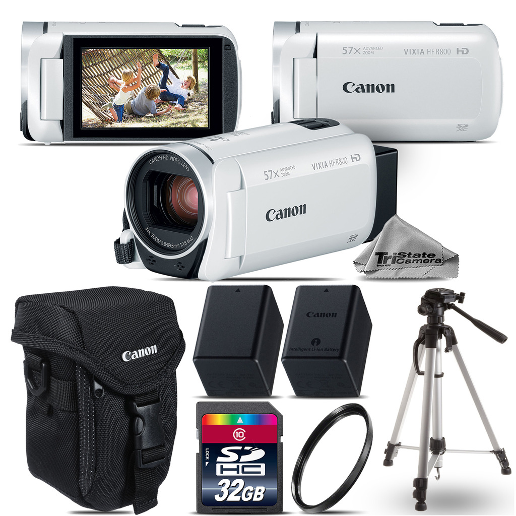 VIXIA HF R 800 57x White Camcorder + EXT BAT + 32GB - Essential Kit Bundle *FREE SHIPPING*