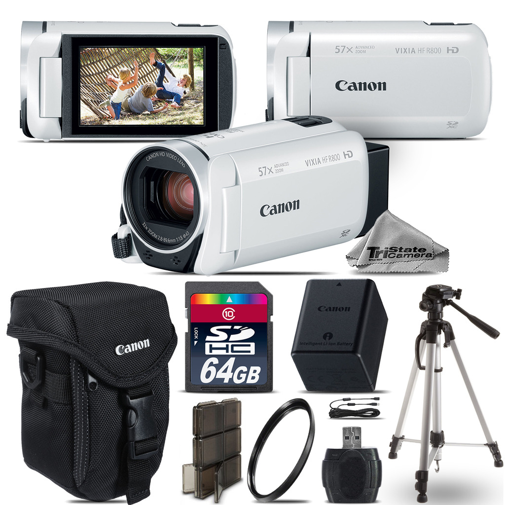 VIXIA HF R 800 57x 1960C003 White Camcorder + Case + 64GB - Starter Bundle *FREE SHIPPING*