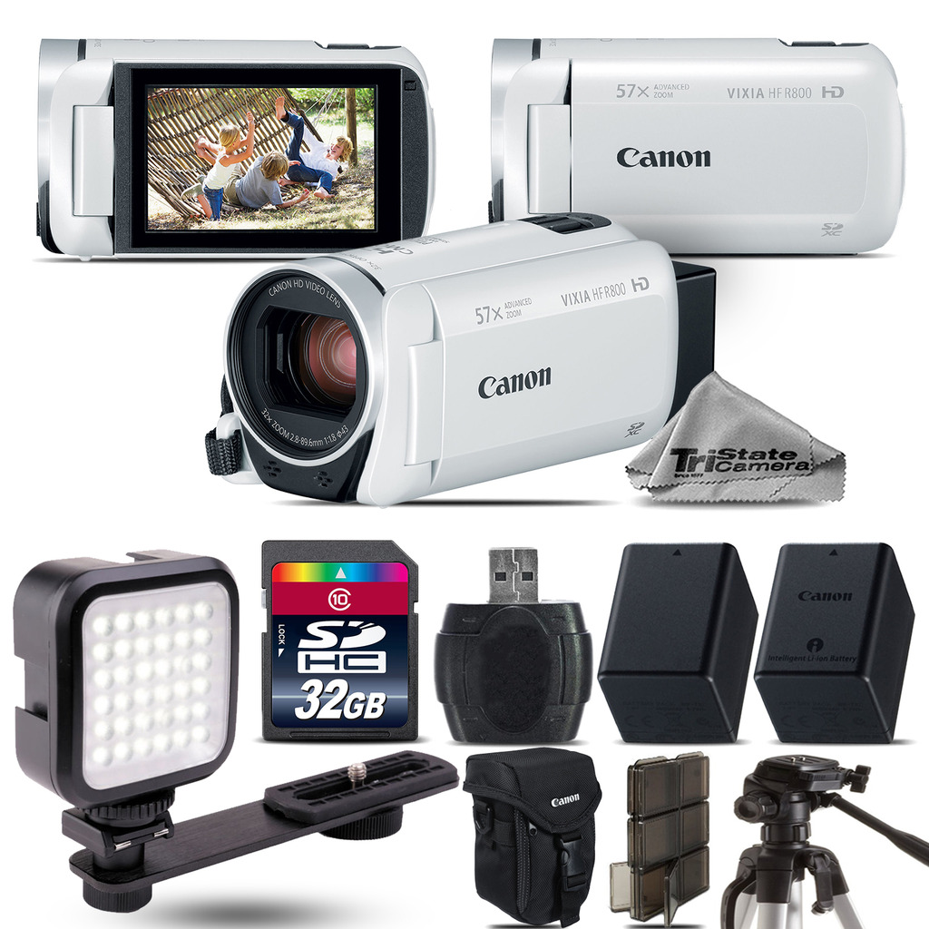 VIXIA HF R 800 57x Zoom White Camcorder + LED + EXT BATT - 32GB Bundle *FREE SHIPPING*