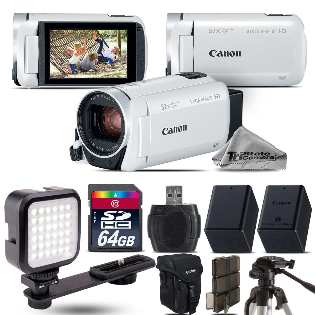 VIXIA HF R 800 57x Zoom 3.28MP White Camcorder + LED + EXT BATT - 64GB Kit *FREE SHIPPING*