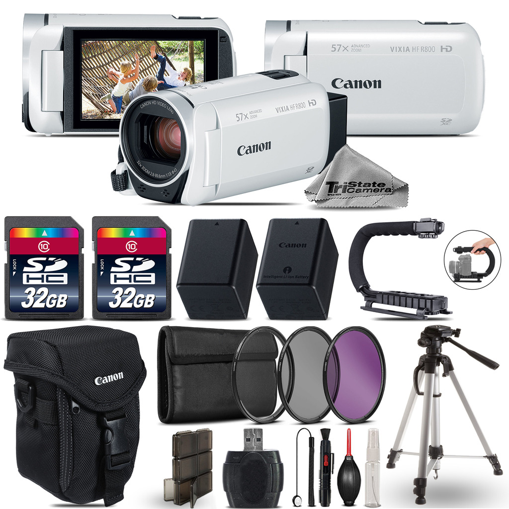 VIXIA HF R 800 HFR 800 Camcorder White + 64GB - Essential Ultimate Bundle *FREE SHIPPING*
