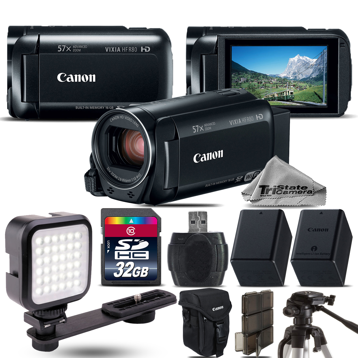 VIXIA HF R80 57x Zoom 3.28MP Camcorder + LED + EXT BATT - 32GB Kit Bundle *FREE SHIPPING*