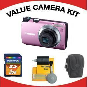 PowerShot A3300 IS Digital Camera - Pink with Value Accessory Kit (2GB Mem Card, Carrying Case & Cleaning Kit) *FREE SHIPPING*