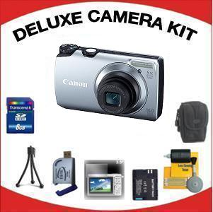 PowerShot A3300 IS Digital Camera - Silver with Deluxe Accessory Kit (8GB Mem Card, Card Reader, Carrying Case, Spare Battery & More) *FREE SHIPPING*