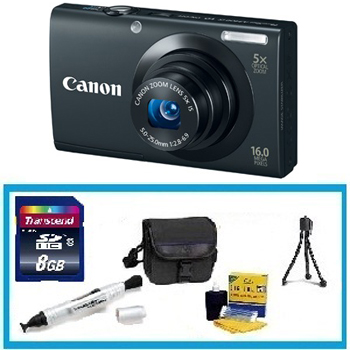 PowerShot A3400 Digital Camera - Black with Enhanced Accessory Kit (4GB Mem Card, Card Reader, Carrying Case, Tripod & Cleaning Kit) *FREE SHIPPING*