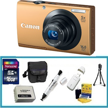 PowerShot A3400 Digital Camera - Gold with Deluxe Accessory Kit (8GB Mem Card, Card Reader, Carrying Case, Spare Battery & More) *FREE SHIPPING*