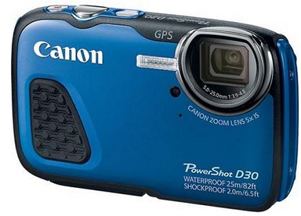 PowerShot D-30 12.1 Megapixel, 5x 28mm Optical IS Zoom, 3.0 Inch LCD Screen, Full HD Video, Built-In GPS Waterproof Freezeproof & Shockproof Digital Camera - Blue *FREE SHIPPING*