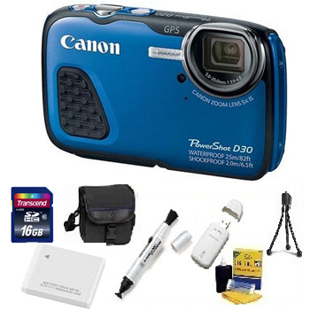 PowerShot D-30 Digital Camera - Blue - with 16GB Memory Card, Lens Cleaning Kit, Camera Case, Pen LCD Screen Cleaner, Table-Top Tripod, Replacement Battery, Card Reader - Deluxe Kit *FREE SHIPPING*