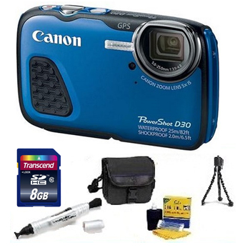 PowerShot D-30 Digital Camera - Blue - with 8GB Memory Card, Lens Cleaning Kit, Camera Case, Pen LCD Screen Cleaner, Table-Top Tripod - Essential Kit *FREE SHIPPING*