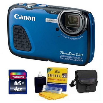 PowerShot D-30 Digital Camera - Blue - with 4GB Mem Card, Carrying Case & Cleaning Kit - Value Kit *FREE SHIPPING*