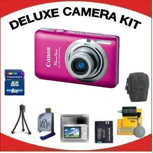 PowerShot Elph 100 Digital Camera - Pink with Deluxe Accessory Kit (8GB Mem Card, Card Reader, Carrying Case, Spare Battery & More) *FREE SHIPPING*