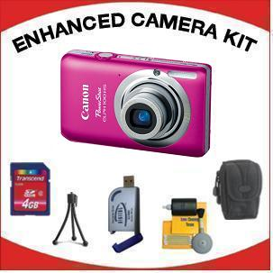PowerShot Elph 100 Digital Camera - Pink with Enhanced Accessory Kit (4GB Mem Card, Card Reader, Carrying Case, Tripod & Cleaning Kit) *FREE SHIPPING*