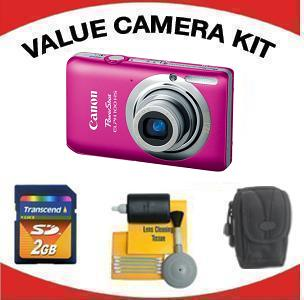 PowerShot Elph 100 Digital Camera - Pink with Value Accessory Kit (2GB Mem Card, Carrying Case & Cleaning Kit) *FREE SHIPPING*