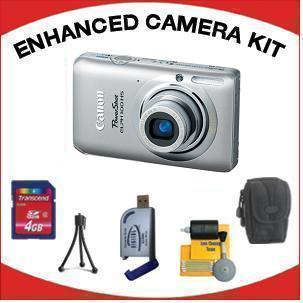 PowerShot Elph 100 Digital Camera - Silver with Enhanced Accessory Kit (4GB Mem Card, Card Reader, Carrying Case, Tripod & Cleaning Kit) *FREE SHIPPING*