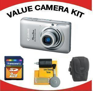 PowerShot Elph 100 Digital Camera - Silver with Value Accessory Kit (2GB Mem Card, Carrying Case & Cleaning Kit) *FREE SHIPPING*
