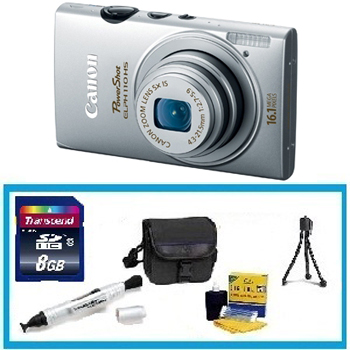 Powershot ELPH HS 110 Digital Camera - Silver with Enhanced Accessory Kit (4GB Mem Card, Card Reader, Carrying Case, Tripod & Cleaning Kit) *FREE SHIPPING*