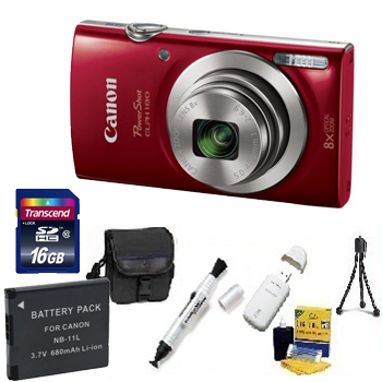 PowerShot Elph 180 Digital Camera - Red - 16GB Memory Card, Lens Cleaning Kit, Camera Case, Pen LCD Screen Cleaner, Table-Top Tripod, Replacement Battery, Card Reader - Deluxe Kit *FREE SHIPPING*