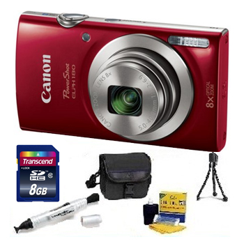 PowerShot Elph 180 Digital Camera - Red - 8GB Memory Card, Lens Cleaning Kit, Camera Case, Pen LCD Screen Cleaner, Table-Top Tripod - Essential Kit *FREE SHIPPING*