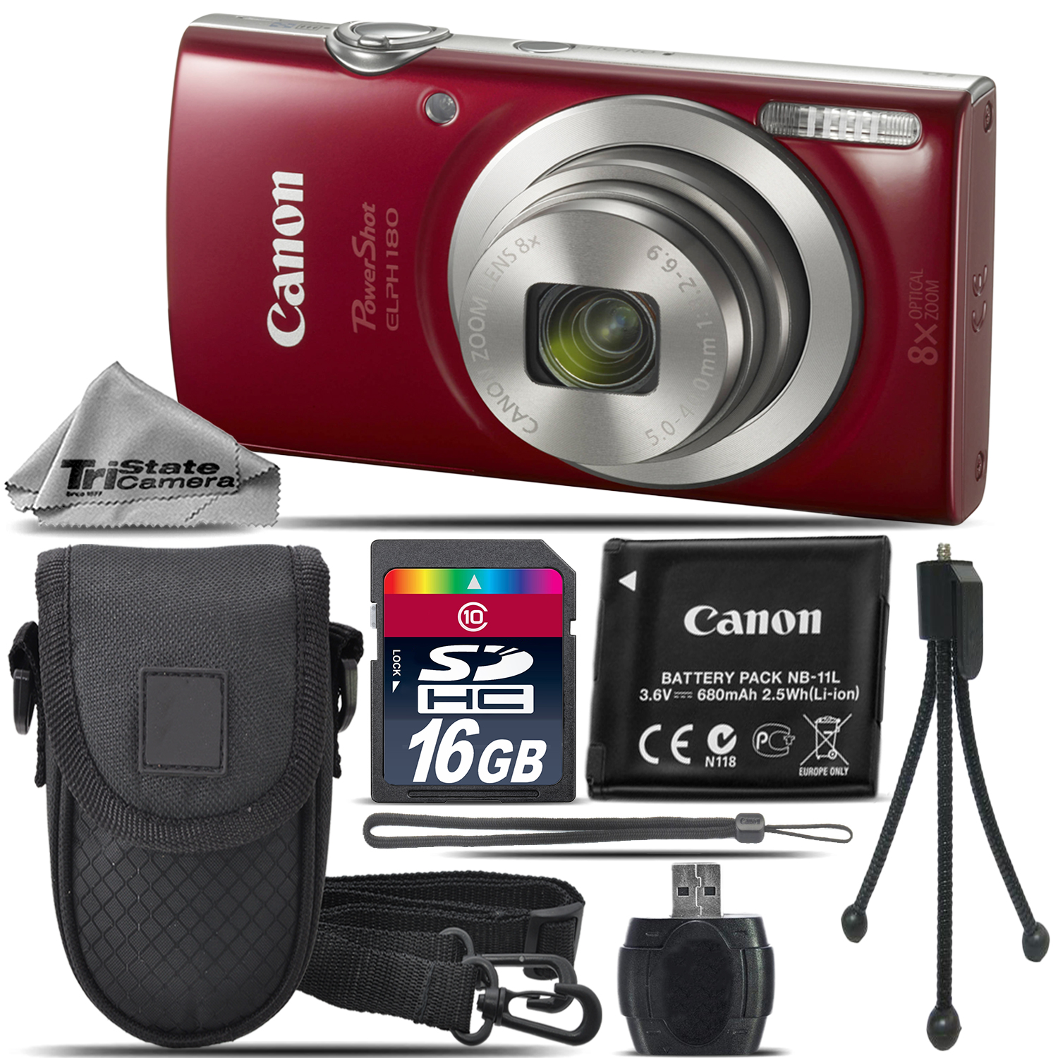PowerShot ELPH 180 Digital Camera (Red) 1096C001 8X Optical Zoom -16GB Kit *FREE SHIPPING*