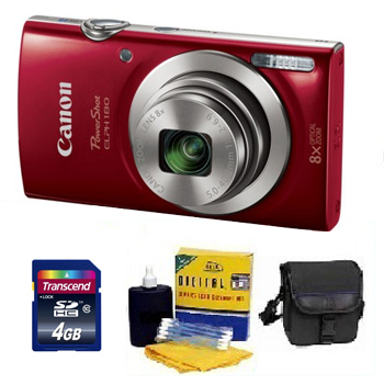 PowerShot Elph 180 Digital Camera - Red - 4GB Mem Card, Carrying Case & Cleaning Kit - Value Kit *FREE SHIPPING*