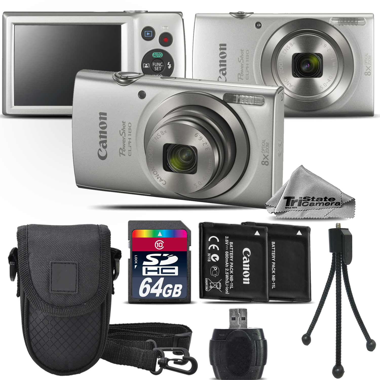 PowerShot ELPH 180 Digital Camera Silver 8x Optical Zoom - 64GB Kit Bundle *FREE SHIPPING*