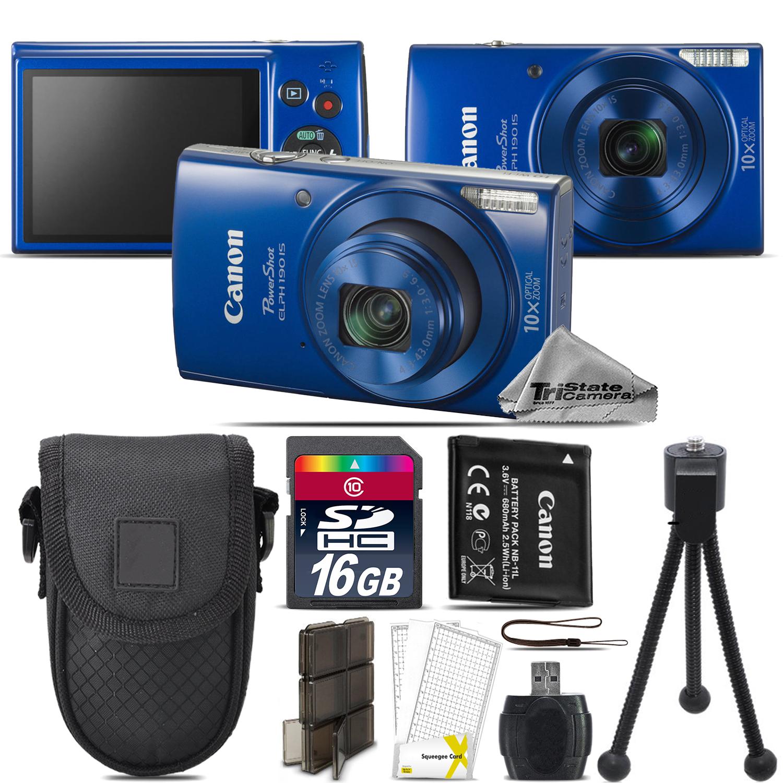 PowerShot ELPH 190 Digital WiFi NFC Camera 10X Optical -16GB Essential Kit - Blue *FREE SHIPPING*