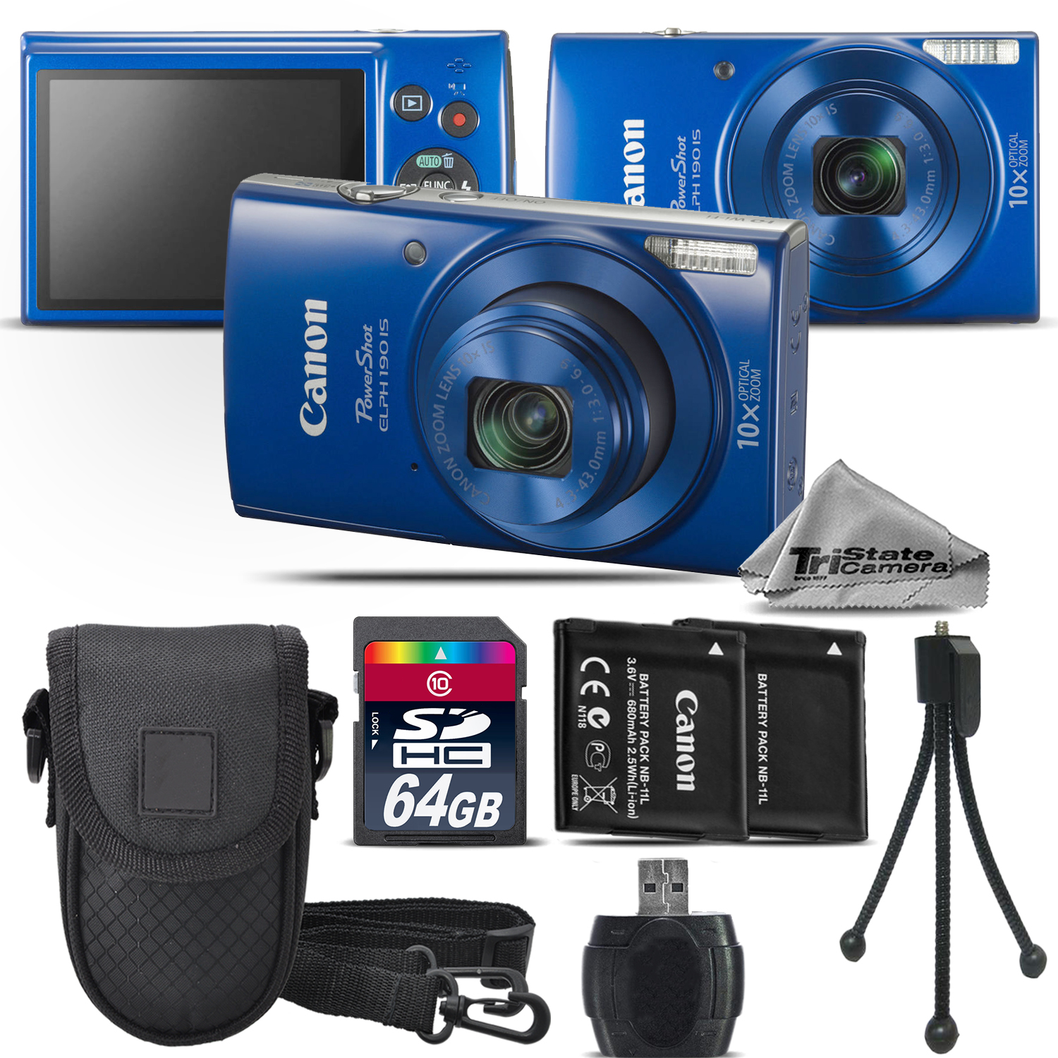 PowerShot ELPH 190 Digital Camera Blue 1090C001 10X Optical Zoom -64GB Kit - Blue *FREE SHIPPING*