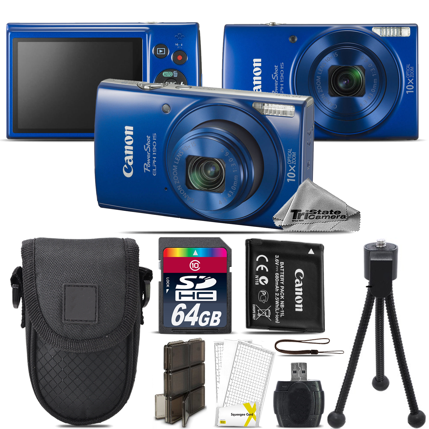 PowerShot ELPH 190 Digital WiFi NFC Camera 10X Optical -64GB Essential Kit - Blue *FREE SHIPPING*