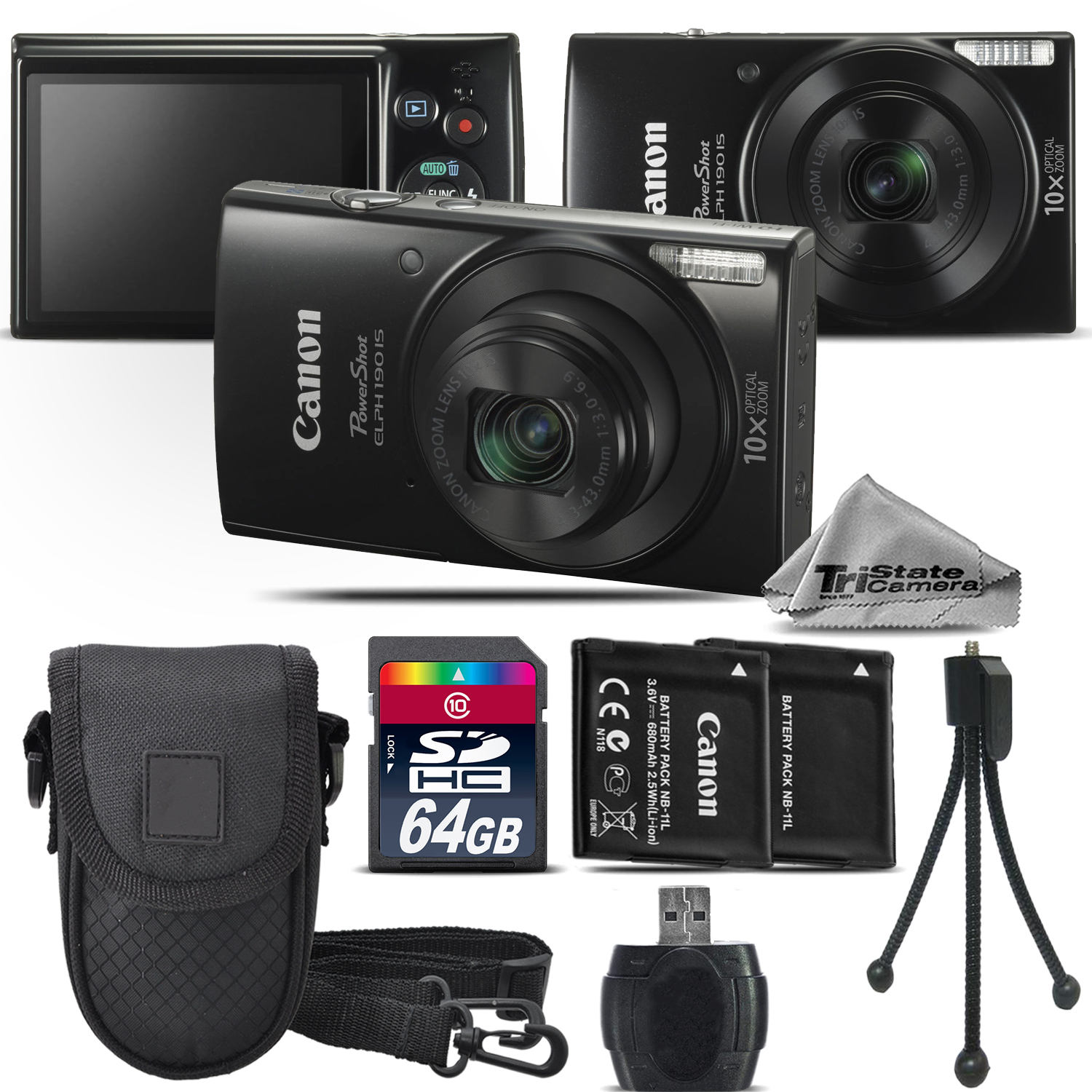 PowerShot ELPH 190 Digital Camera Black WiFi 10X Optical Zoom - 64GB Kit *FREE SHIPPING*