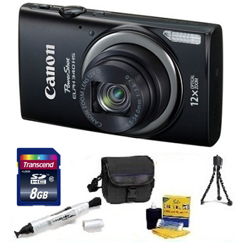 PowerShot Elph 340 HS Digital Camera - Black - with 8GB Memory Card, Lens Cleaning Kit, Camera Case, Pen LCD Screen Cleaner, Table-Top Tripod - Essential Kit *FREE SHIPPING*