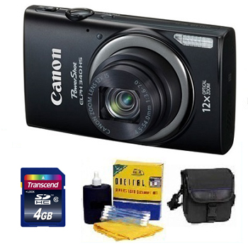 PowerShot Elph 340 HS Digital Camera - Black - with 4GB Mem Card, Carrying Case & Cleaning Kit - Value Kit *FREE SHIPPING*
